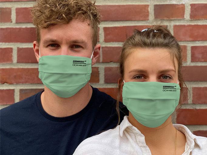"Farbe (7) menthol-grün / ""GRIMASKE"" antivirale Atemschutzmaske - https://www.krawatten-tuecher-schals-werbetextilien.de/"