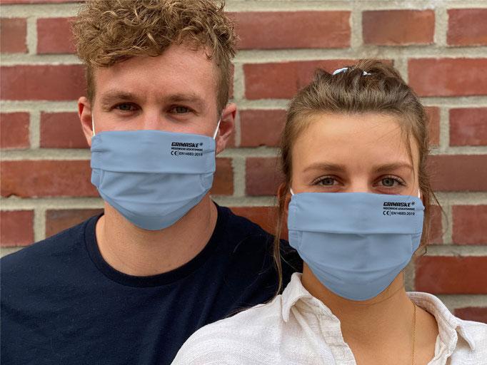 """Farbe (6) himmelblau / """"GRIMASKE"""" antivirale Atemschutzmaske - https://www.krawatten-tuecher-schals-werbetextilien.de/"""