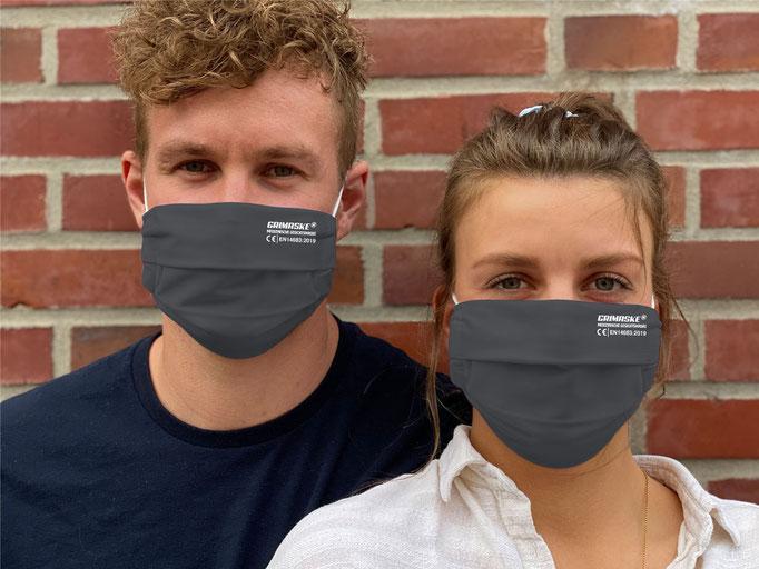"""Farbe (23) anthrazit / """"GRIMASKE"""" antivirale Atemschutzmaske - https://www.krawatten-tuecher-schals-werbetextilien.de/"""