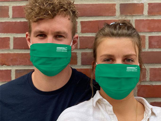 """Farbe (4) grün / """"GRIMASKE"""" antivirale Atemschutzmaske - https://www.krawatten-tuecher-schals-werbetextilien.de/"""