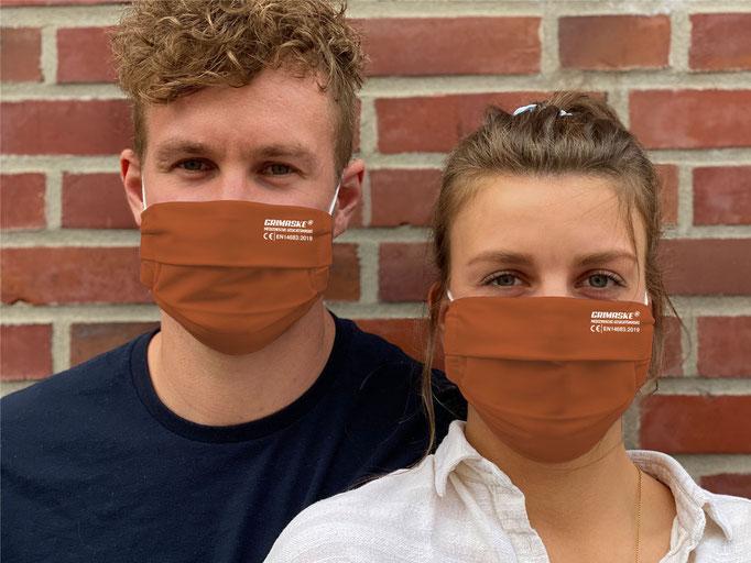 """Farbe (9) rost / """"GRIMASKE"""" antivirale Atemschutzmaske - https://www.krawatten-tuecher-schals-werbetextilien.de/"""