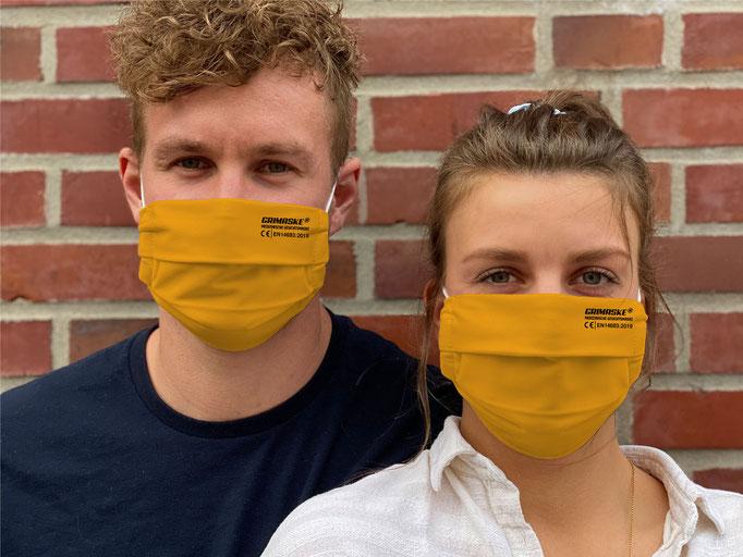 """Farbe (21) saffron / """"GRIMASKE"""" antivirale Atemschutzmaske - https://www.krawatten-tuecher-schals-werbetextilien.de/"""