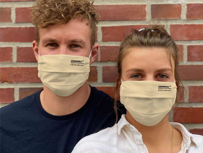 """Farbe (3) beige / """"GRIMASKE"""" antivirale Atemschutzmaske - https://www.krawatten-tuecher-schals-werbetextilien.de/"""