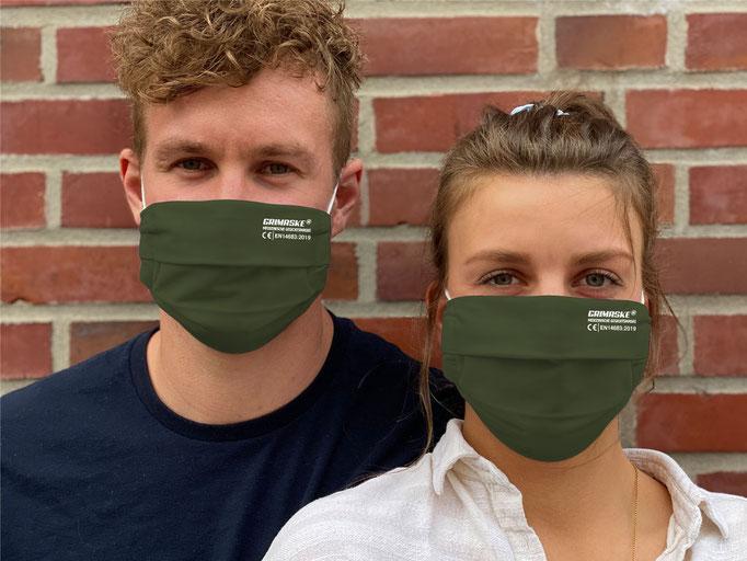 """Farbe (12) chive / """"GRIMASKE"""" antivirale Atemschutzmaske - https://www.krawatten-tuecher-schals-werbetextilien.de/"""