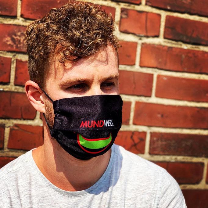 Mund-Nasen-Maske individuell mit eigenem Logo oder Muster von Feld Textil GmbH in Krefeld - www.krawatten-tuecher-schals-werbetextilien.de