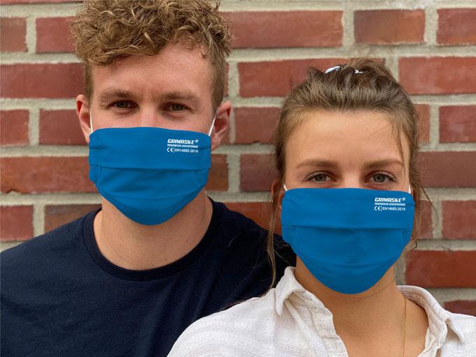 """Farbe (1) blau / """"GRIMASKE"""" antivirale Atemschutzmaske - https://www.krawatten-tuecher-schals-werbetextilien.de/"""