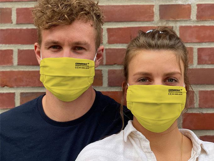 """Farbe (10) sonniges-gelb / """"GRIMASKE"""" antivirale Atemschutzmaske - https://www.krawatten-tuecher-schals-werbetextilien.de/"""