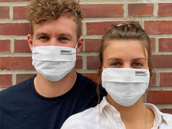 """Farbe (28) weiss / """"GRIMASKE"""" antivirale Atemschutzmaske - https://www.krawatten-tuecher-schals-werbetextilien.de/"""