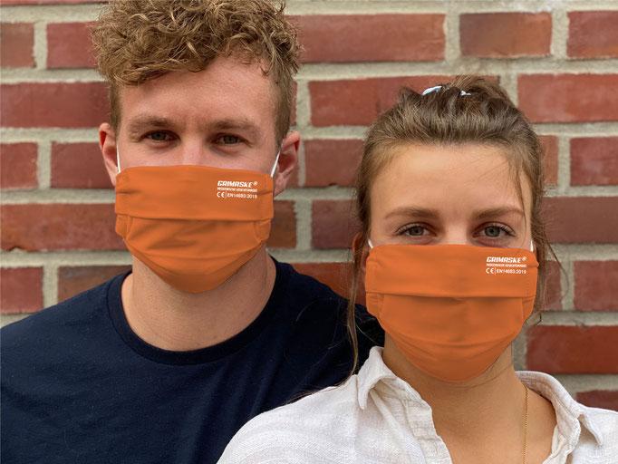 """Farbe (20) orange-peel / """"GRIMASKE"""" antivirale Atemschutzmaske - https://www.krawatten-tuecher-schals-werbetextilien.de/"""