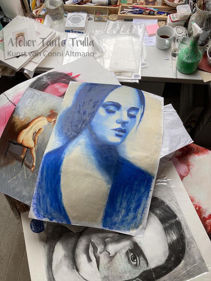 blaues Gemälde Portrait Frau direkt vom Künstler kaufen