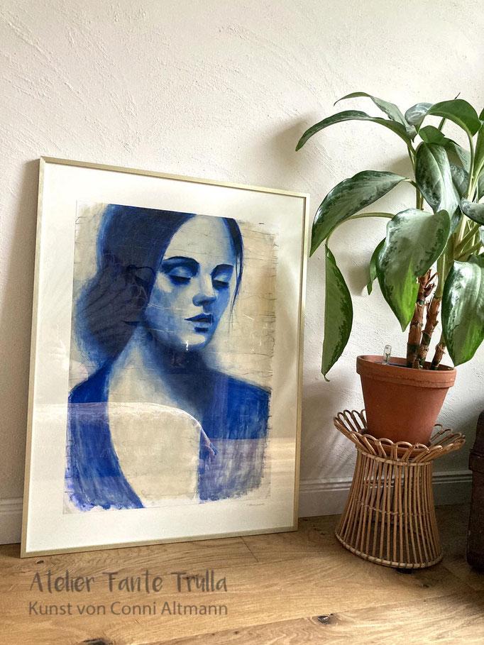 blaues Gemälde Frau kaufen