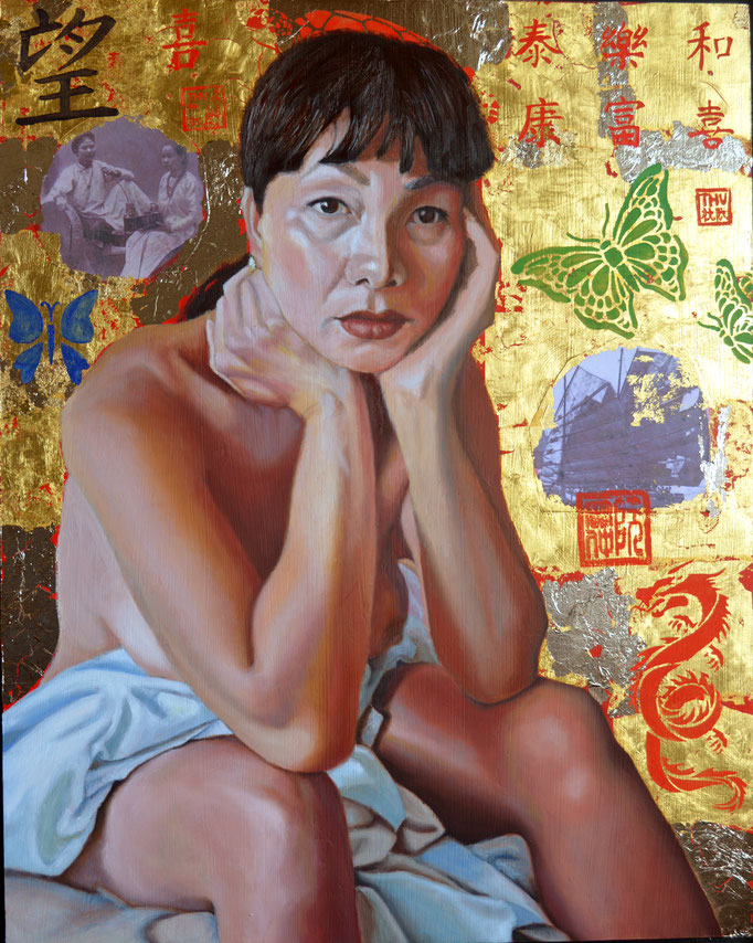 Diva by Thu Nguyen  oil and 24kt gold leaf on panel  20 x 16 x 1   $2500