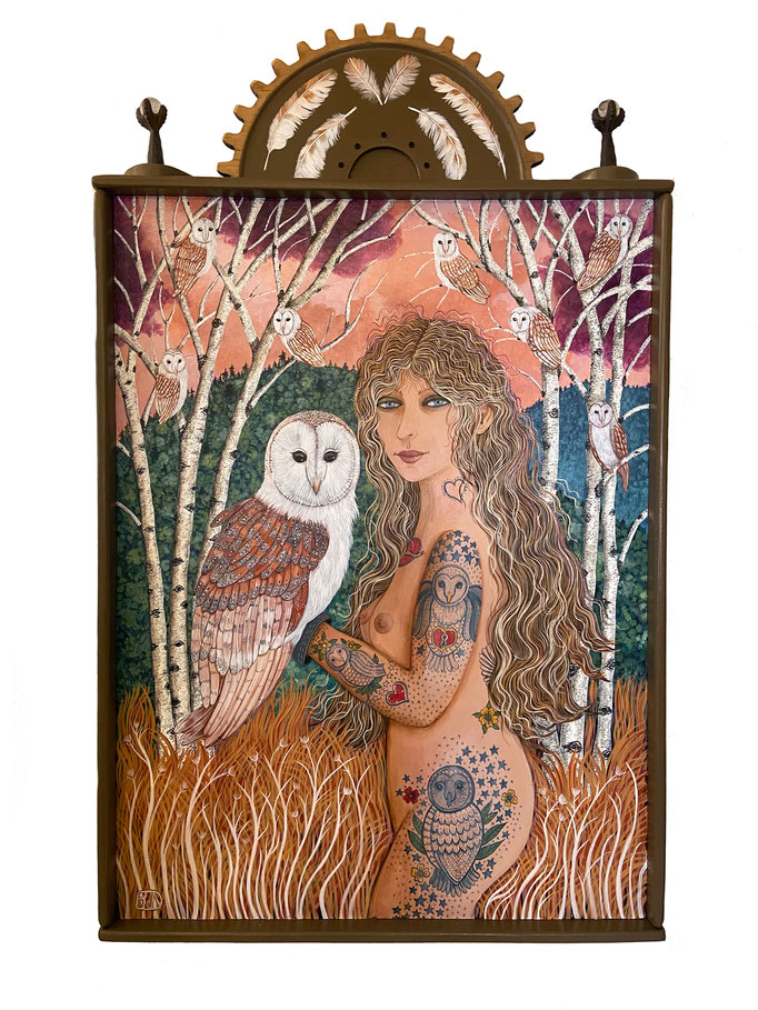 "The Owl Hath a Bride Who is Fond and Bold by Barbara Johansen Newman  acrylic on panel found object  51"" x 31"" x 3  $7500"