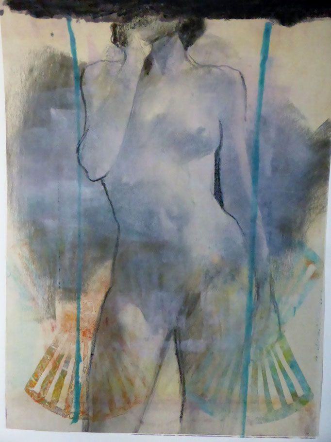 Pondering the Feathers by Chick Curtis  monotype, chine colle, oil pastel   34 x 26  $1000