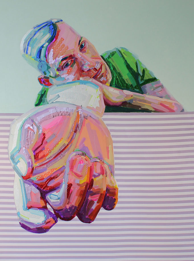 Nathan with Stripe Table by Gary Miller  mixed media on Canvas  48 x 36 x 2      $1700