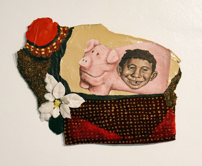 Games by Carloz Sullivan  latex, cloth, tobacco, and plastic  13 x 18   $400