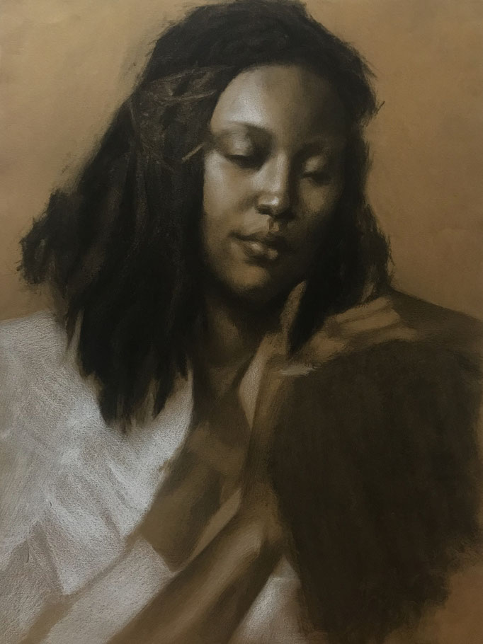 La Madonna Negra  by Arena Shawn  charcoal and chalk on paper  16 x12   $895