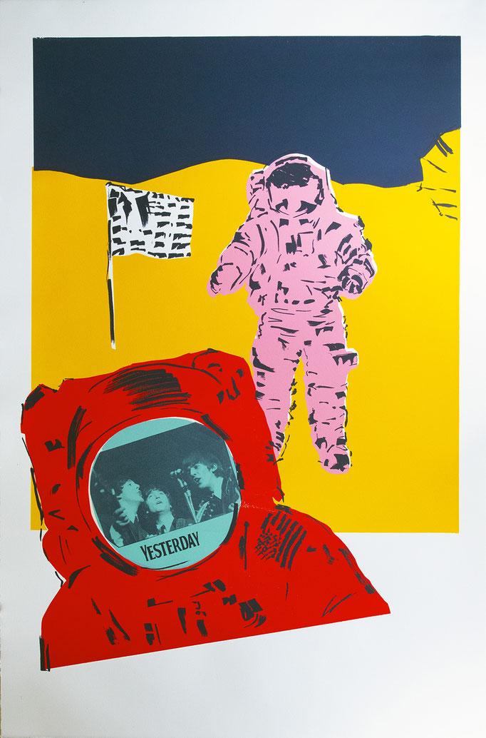 Yesterday Moonshot Yellow by June August  unique silkscreen 48 x 31.5  $2015