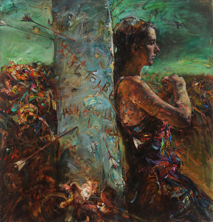 Arrowed Pillar  Victor Wang  oil on canvas