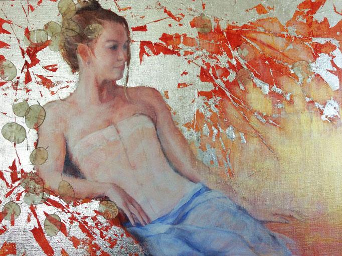 Lunaria  mixed media on canvas  Carole Belliveau