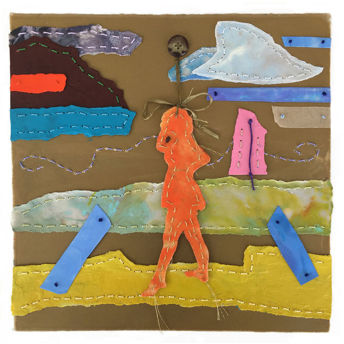 "Barefoot in Summer by Robin VanHoozer  encaustic, button, silk ribbon thread on paper  12""x 12""   $700"