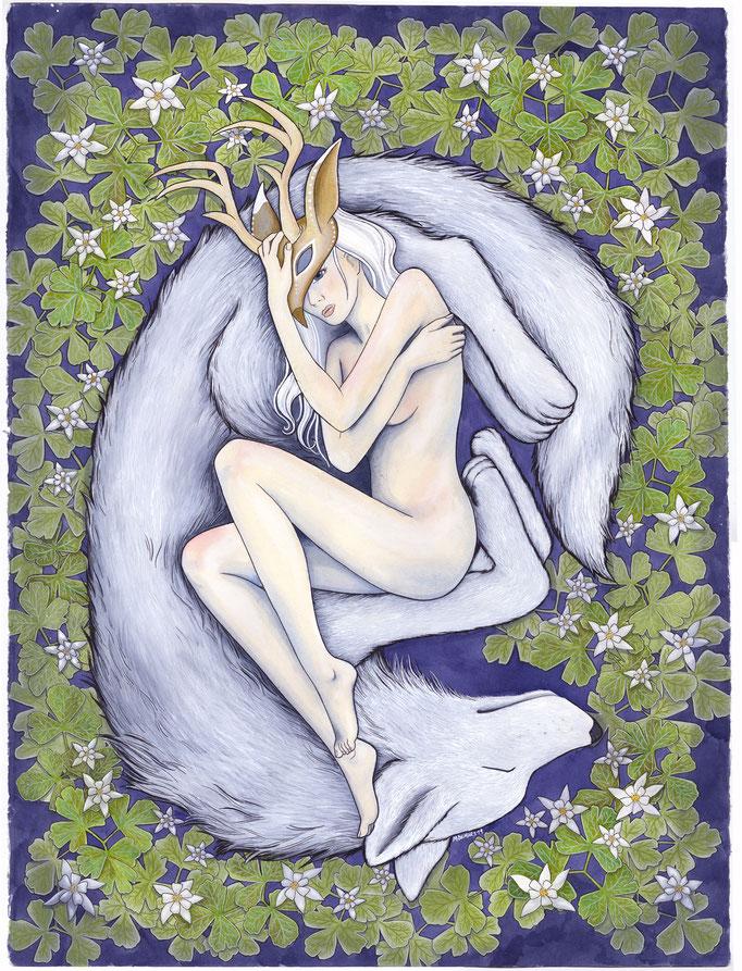 The White Doe  watercolor ink, color pencil  Michelle M. Demars
