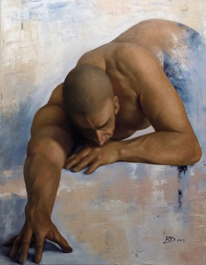 Contrition by Ryan Delgado  oil on canvas  28 x 22    $5000