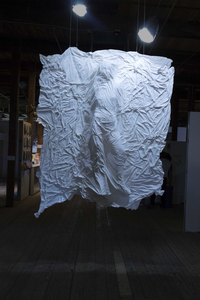 "Rem(n)ant by Kayla Becwar  linen plaster acrylic paint   97"" x 93"" x 23""   $2300"