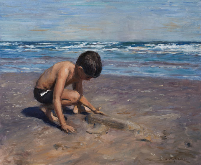 Young Boy Making Sand Shuttle by Keith Johnson  oil on canvas  20 x24 x 1  $2200