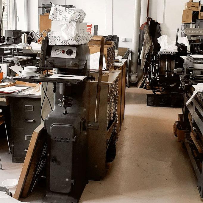 Atelier von l'imprimeuse Letterpress Studio mit Druckmaschinen