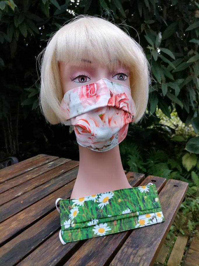 Nase-Mund-Gesichts-Schutzmasken (mit Nasenklammer) Blumenmotive, 100% Baumwollstoff, doppellagig, waschbar, Haltegummi verstellbar