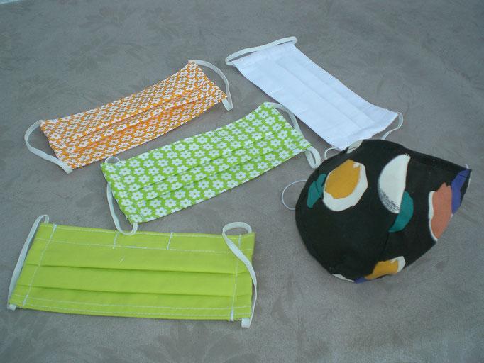 Nase-Mund-Gesichts-Schutzmasken-diverse Modelle (mit oder ohne Nasenklammer), 100% Baumwollstoff, doppellagig, waschbar, Haltegummi verstellbar