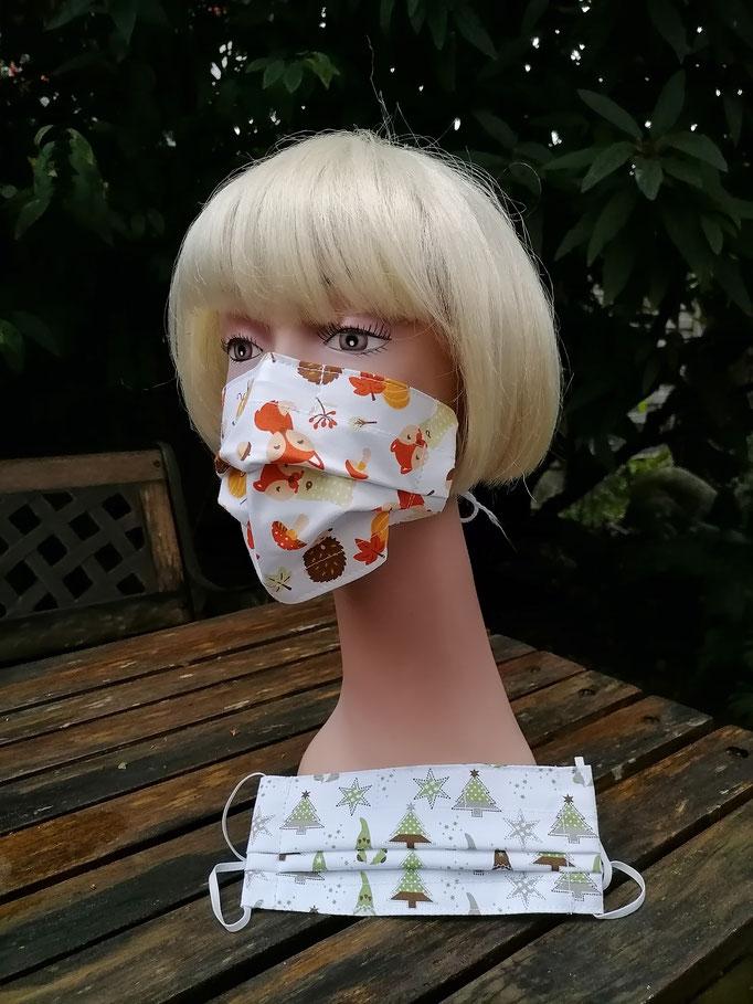 Nase-Mund-Gesichts-Schutzmasken (mit Nasenklammer) Herbst,Weihnachten, 100%Baumwollstoff, doppellagig, waschbar, Haltegummi verstellbar