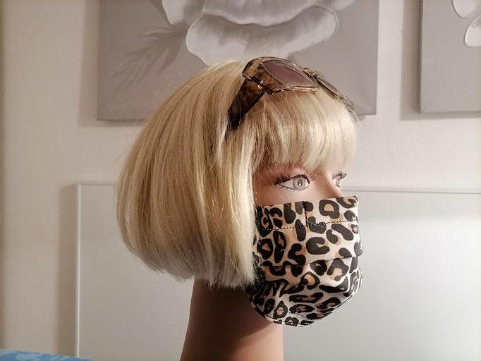 Nase-Mund-Gesichts-Schutzmasken (mit Nasenklammer) Leopardenlook, 100% Baumwollstoff, doppellagig, waschbar, Haltegummi verstellbar