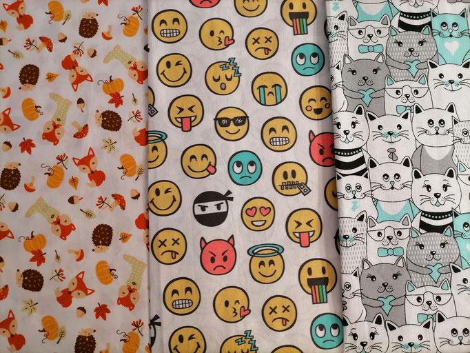 Motiv-Stoffe f. Gesichtsmasken (100% Baumwolle), Herbst, Emotjes, Katzen