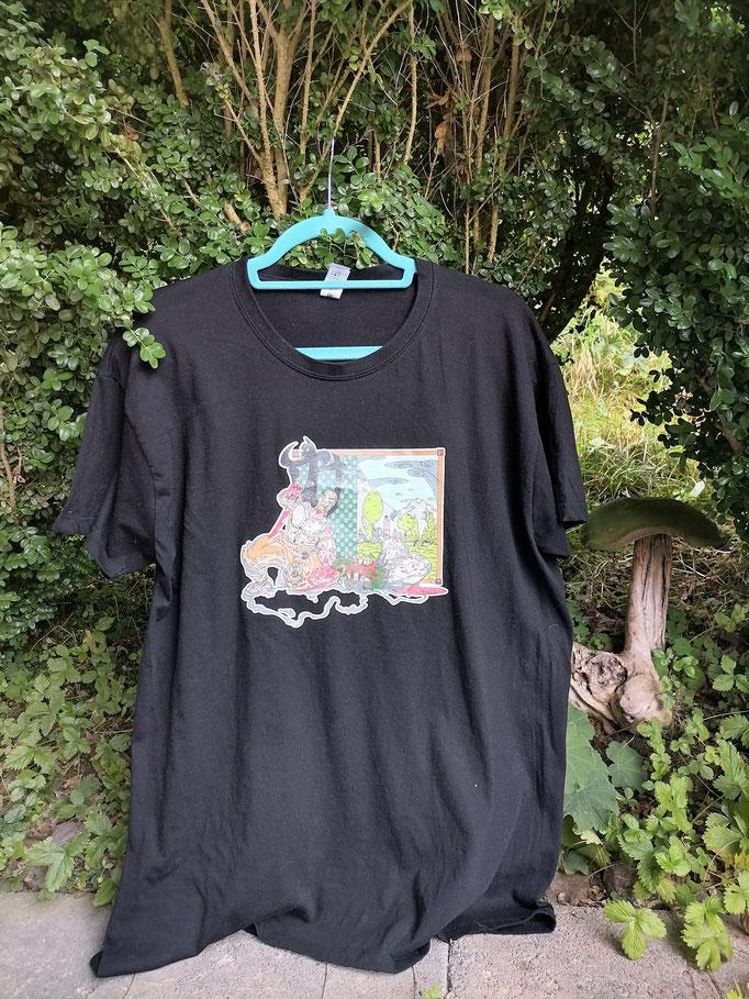 T-Shirt mit ART-DEKO-Druck, Design handgemalt, aus BIO-Baumwollstoff