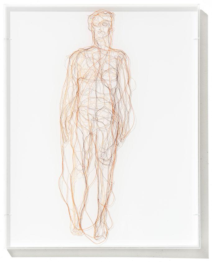 Me, myself, I, 2015, Garn, Netz auf Acrylglas, 50 x 40 cm