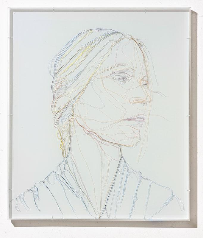 Tsukiura, 2019, Garn, Netz auf Acrylglas, 70 x 60 cm