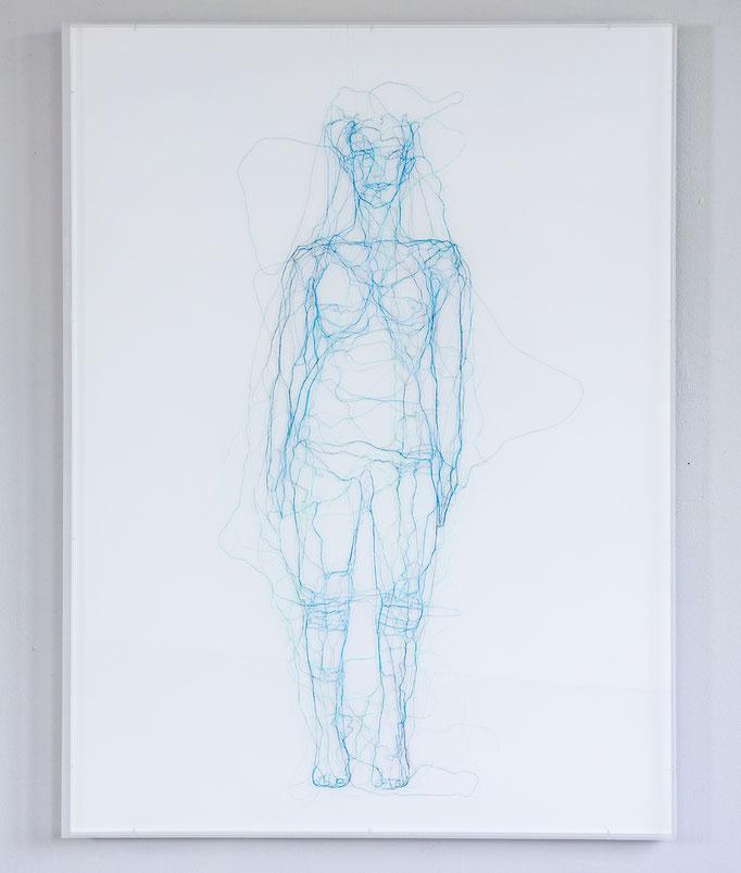 Me, myself, I, 2016, Garn, Netz auf Acrylglas, 120 x 90 cm