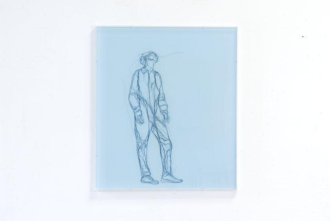 Laisser faire, 2017, Garn, Netz auf Acrylglas, 70 x 60 cm