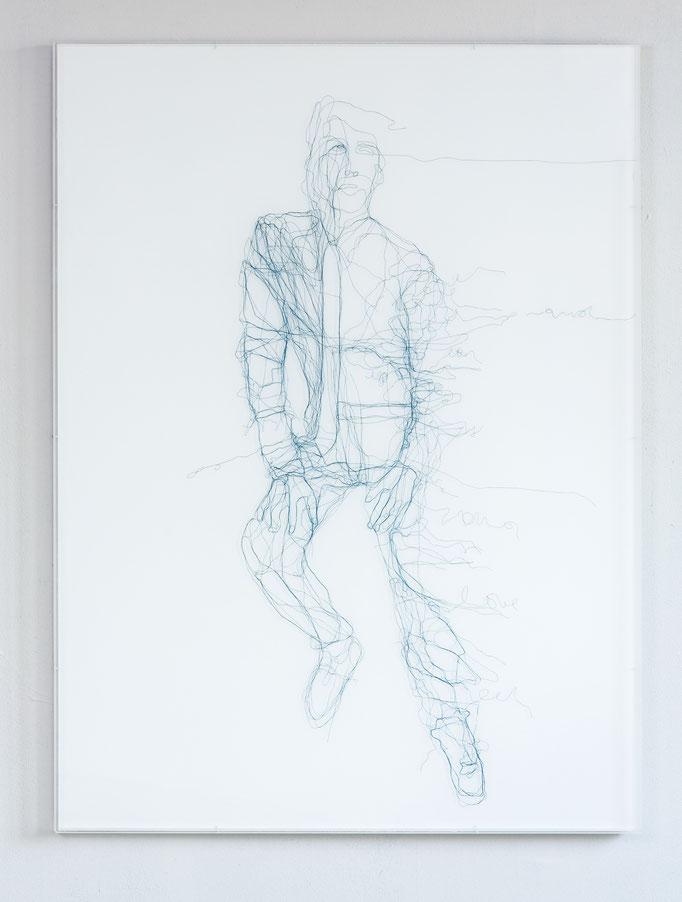 The Letter, 2017, Garn, Netz auf Acrylglas,  120 x 90 cm