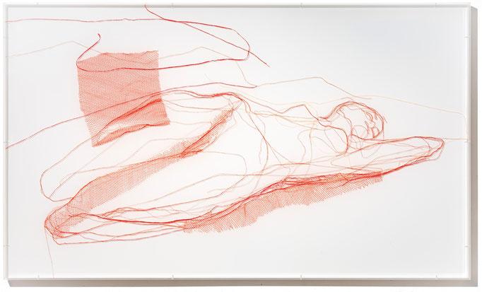 Archipel, 2019, Garn, Netz auf Acrylglas, 65 x 110 cm