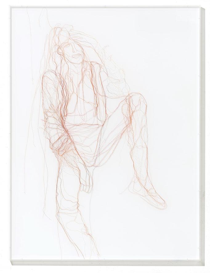 Elle, 2018, Garn, Netz auf Acrylglas, 120 x 90 cm