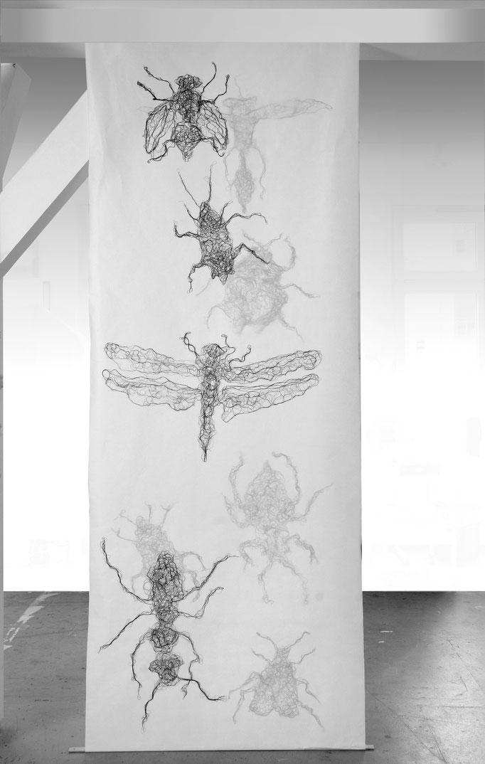 Insekten, 2010, imprägnierter Nähseide auf Papierbahn, beiseitig, diverse Maße 40-80 x 40-80 cm