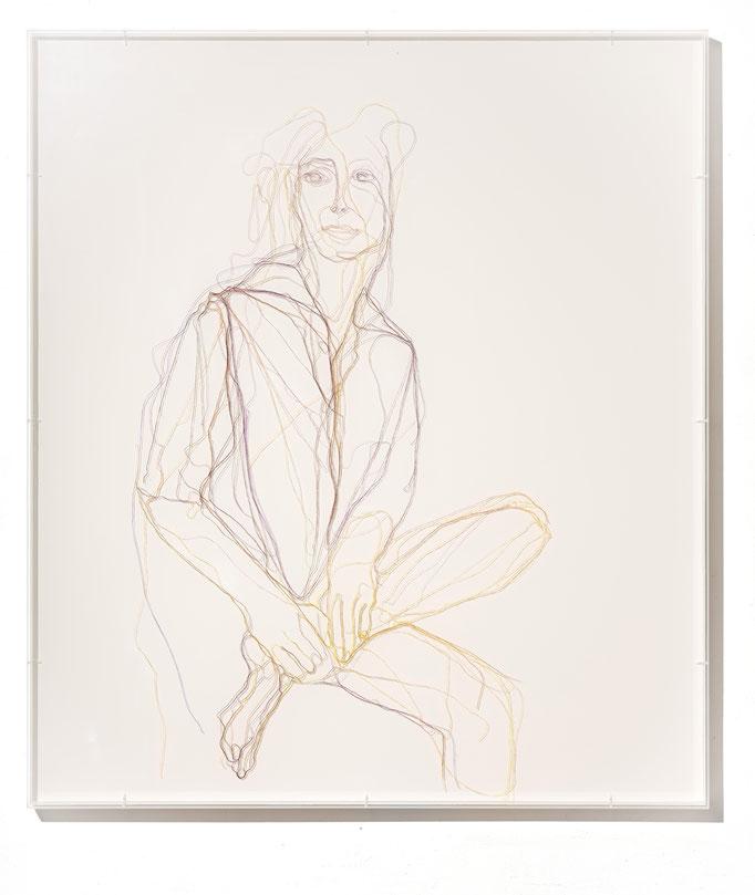 Elle, 2018, Garn, Netz auf Acrylglas, 80 x 70 cm