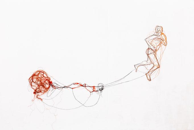 Gehen ging gegangen, 2015, Garn, Netz, ca. 90 x 230 cm