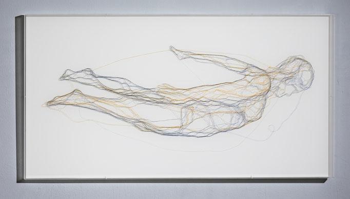 Dido & Aeneas, 2016, Garn, Netz auf Acrylglas, 63,5 x 120 cm