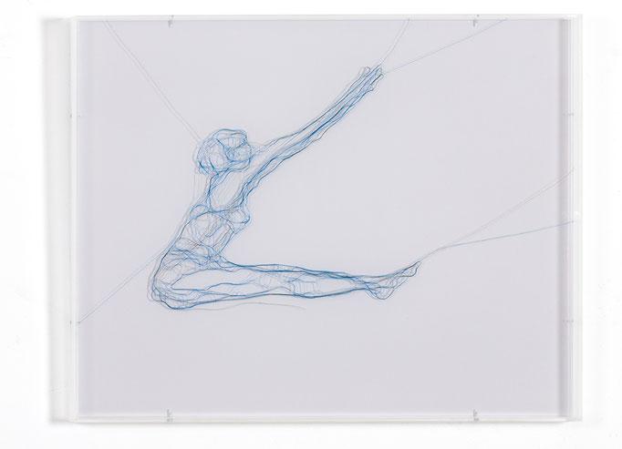 Triangle, 2016, Garn, Netz auf Acrylglas, 40 x 50 cm