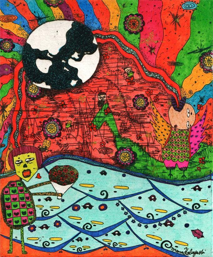 「虹は地球貫通」 サイズ12×10cm 銅版画・手彩色/紙