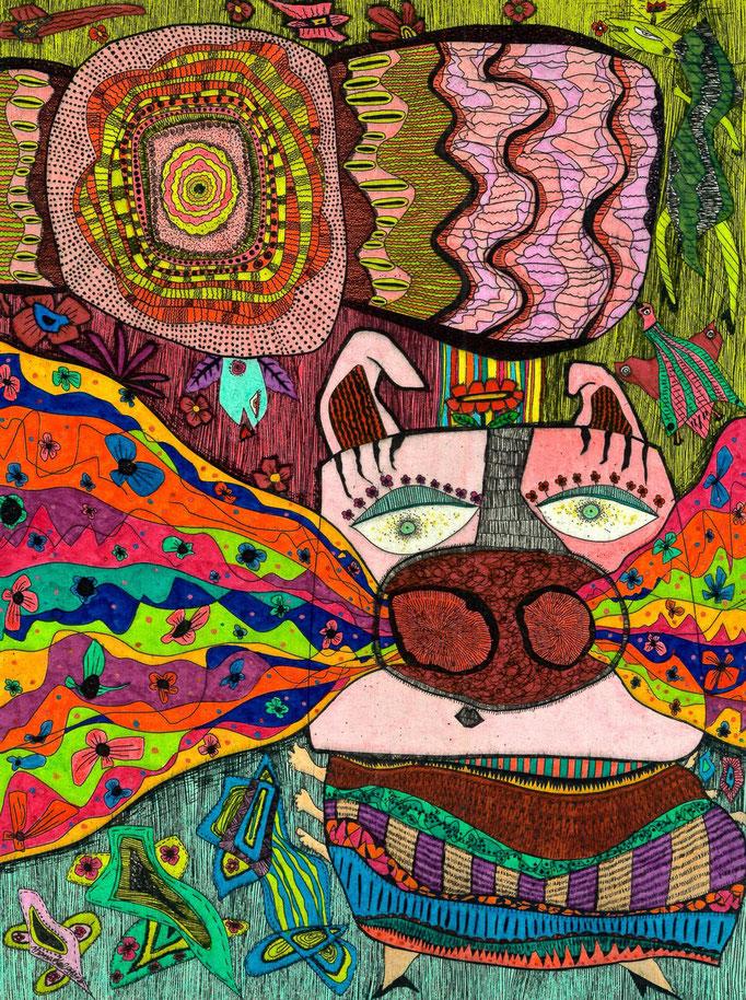 「豚の鼻から虹」 サイズ20.5×27.5cm 銅版画・手彩色/紙